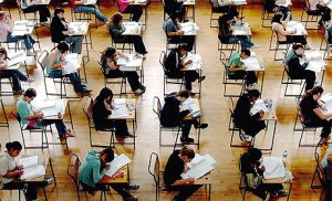 Students taking the bar exam.