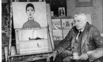 Lowry next to his easel