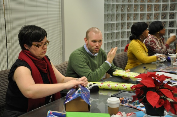 Austin learning how to wrap presents for the first time in 2012