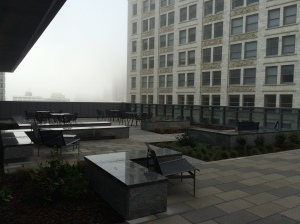 Sixth floor balcony on a foggy Groundhog's Day morning.