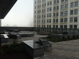 Sixth floor balcony on a foggy Groundhog's Day morning.