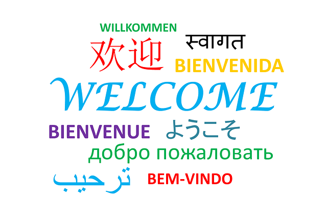 Word cloud of welcome in several languages.